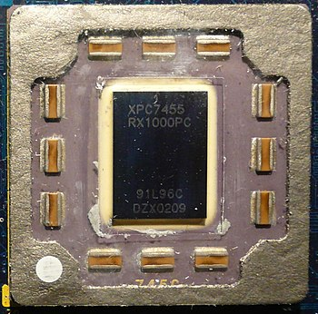 English: 1000 MHz Motorola PowerPC 4755 on the...