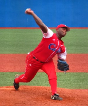 Yadier Pedroso - Pedroso pitching for the Cuba national team in 2010 World University Baseball Championship