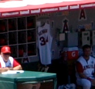 Nick Adenhart - Adenhart's uniform hung inside the Angels home dugout during a 2009 game