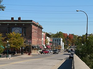 English: View into Depot Town in Ypsilanti, MI...