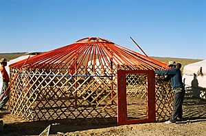 Mongolian ger: with roof poles in place