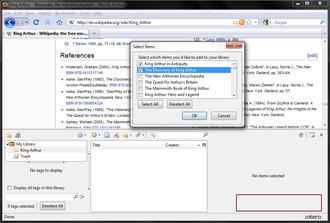 Zotero - Image: Zotero 2.0.9 recognizing references on Wikipedia.org