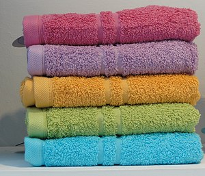 Towel - A stack of colored towels