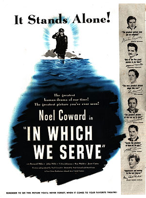 In Which We Serve - An advertisement for the film in a 1943 edition of the American magazine LOOK.