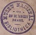 """""""MUSEU NACIONAL DO RIO DE JANEIRO BRASIL BIBLIOTHECA"""" library ink stamp, Uber noch zahlreich jetzt lebende thierarten der kreidebildung (page 7 crop).jpg"""