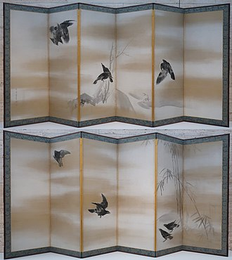 1766 in art - Maruyama Ōkyo, Crows, 1766; pair of sixfold screens; ink and gold on paper.