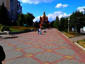 (05) WIKIMEDIA ORTHODOX CATHEDRAL AT CENTRAL SQUARE IN TOWN OF ZHMERINKA VINNYTSIA REGION STATE OF UKRAINE PHOTOGRAPH BY VIKTOR O LEDENYOV 25082014.jpg