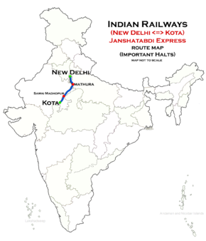 (Kota - New Delhi) Janshatabdi Express route map