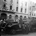 Üllői út 32., kiégett szovjet BTR-152 páncélozott lövészszállító jármű. Fortepan 7113.jpg