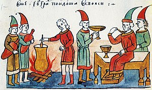 Kissel - Brewing of kissel in Belgorod Kievsky. A miniature from the Radziwiłł Chronicle