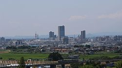 View of central Koriyama, from Tomihisayama Hill