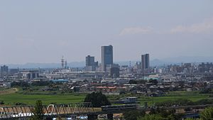 Kōriyama - View of central Koriyama, from Tomihisayama Hill