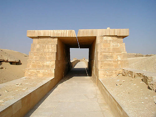 A restored section of the causeway of Unas 01 unas causeway.jpg