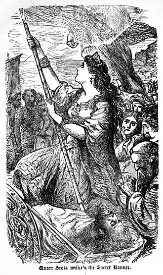 "Scota - ""Queen Scota unfurls the sacred banner"", illustration from an 1867 book of Irish history"