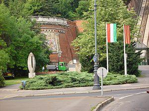 Zero Kilometre Stone - Physical location of Zero Kilometre Stone in Hungary, at the entrance of the tunnel near Lánchíd, Budapest