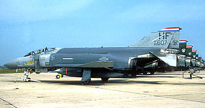 113th Air Support Operations Squadron - Row of 113th TFS F-4Cs painted in Air Defense blue-grey as part of Air Defense, Tactical Air Command at Hulman Field, 1988.