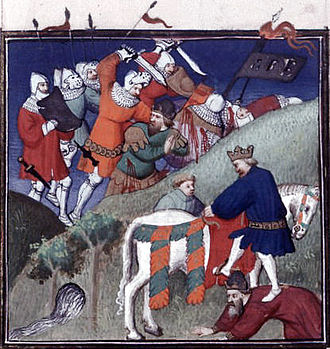 Battle of Manzikert - In this 15th-century French miniature depicting the Battle of Manzikert, the combatants are clad in contemporary Western European armour.