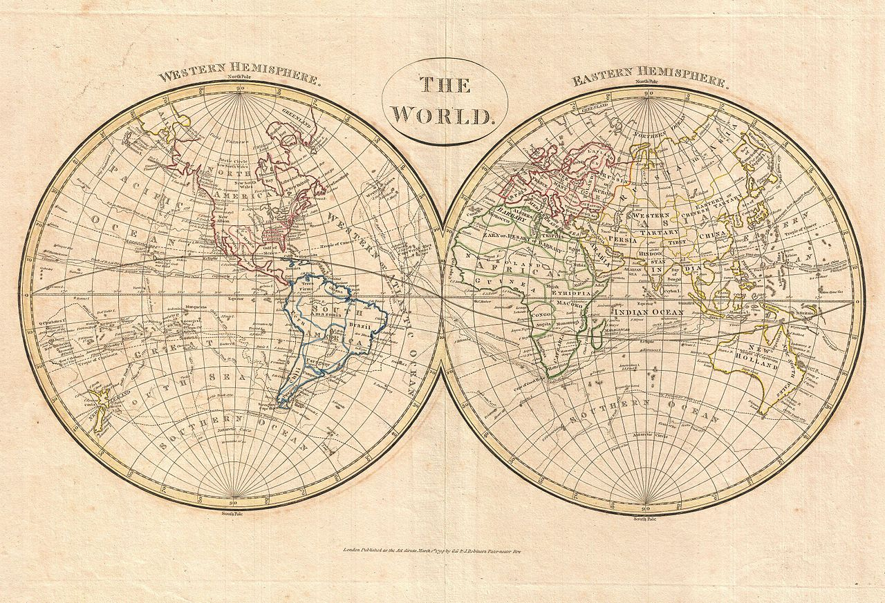 World Map Showing Hemispheres. File 1799 Cruttwell Map of the World in Hemispheres  Geographicus WorldHemisphere cruttwell jpg
