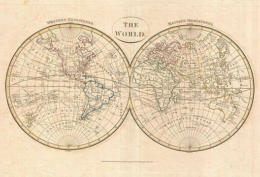 1799 Cruttwell Map of the World in Hemispheres - Geographicus - WorldHemisphere-cruttwell-1799