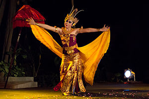 "Cendrawasih (dance) - A lone cendrawasih dancer, with spread ""wings"""