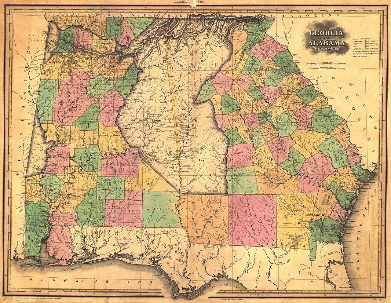 File 1823 Map Of Alabama And Georgia Counties Jpeg