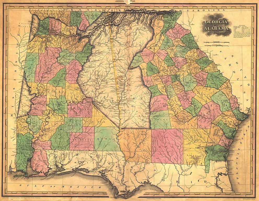 File:1823 Map of Alabama and Georgia counties.jpeg - Wikimedia Commons