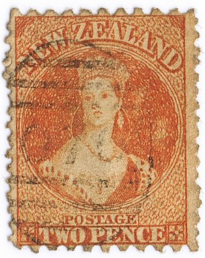 Chalon head - New Zealand stamp of 1871