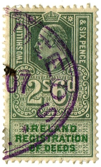 Deeds registration - Irish Registration of Deeds revenue stamp of 1902