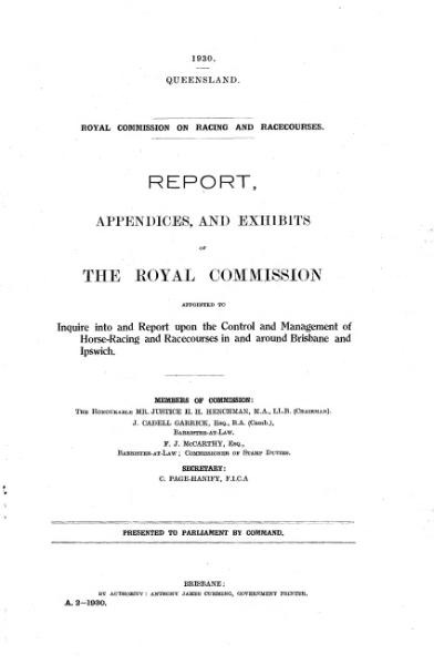 File:1930 QLD Royal Commission into Racing Report.djvu