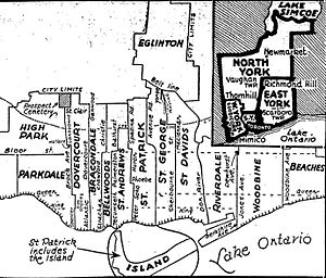 Riverdale (provincial electoral district) - Toronto riding boundaries after 1934 redistribution