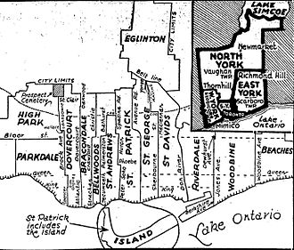 Dovercourt (provincial electoral district) - Toronto riding boundaries after 1934 redistribution