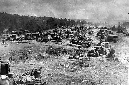 Abandoned vehicles of the German 9th Army at a road near Bobruisk 194407 abandoned german vehicles belarus (revised).jpg