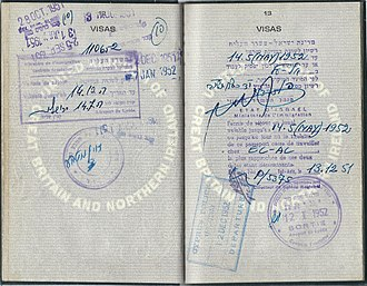 El Al - 1951 British mechanics residence permit for Israel - El Al worker.