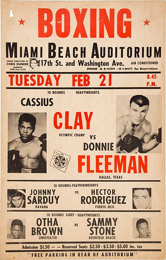 On-site poster for Cassius Clay's fifth professional bout 1961 Cassius Clay vs. Donnie Fleeman On-Site Poster.jpg