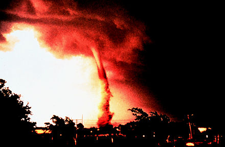 A tornado occurred in Enid, Oklahoma on June 5, 1966. For years, this photo was featured on the cover of Weather Service publications on tornadoes and severe weather, and it was the sole tornado photograph in many textbooks. 1966 Enid Tornado.jpg