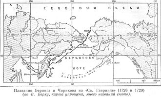 First Kamchatka expedition - The path of the First Kamchatka Expedition, by Vasily Berkh (Berg) (1781–1834)