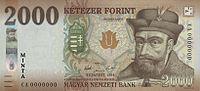 A 2000 forintos bankjegy Bethlen Gábor arcképével