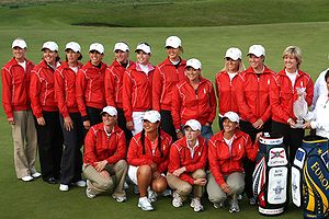 2009 Solheim Cup - U.S. Team. Clockwise from upper left: Robbins, Mallon, Inkster, Castrale, Lang, Creamer, Wie, Kerr, Gulbis, Lincicome, Daniel, Stanford, Pressel, Kim, McPherson.