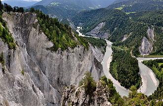 Flims rockslide - Rhein Gorge Ruinaulta with railway bridge