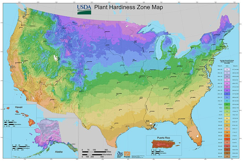 2012 USDA Plant Hardiness Zone Map (USA)