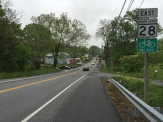 Maryland Route 28 - View east from the west end of MD 28