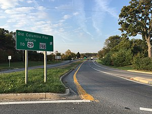U.S. Route 29 in Maryland - View south along US 29A