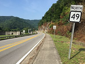 West Virginia Route 49 - View north along WV 49 in Matewan