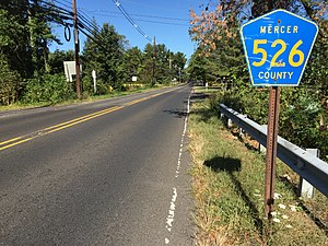 County Route 526 (New Jersey) - CR 526 westbound entering Robbinsville