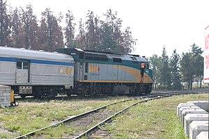 2018-08-19 Via Rail F40PH-2 with Jasper-Prince Rupert train leaving Jasper 0688.jpg