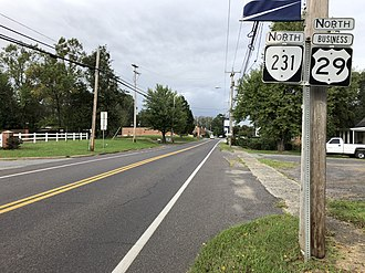 Madison, Virginia - View north along US 29 Bus and SR 231 in Madison