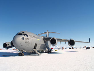 13th Air Expeditionary Group - 304th EAS C-17 sits on the Ice Runway at McMurdo Station, Antarctica, Nov. 21, 2011.