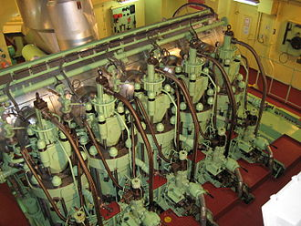 The MAN B&W 5S50MC 5-cylinder, 2-stroke, low-speed marine diesel engine. This particular engine is found aboard a 29,000 tonne chemical carrier. 5S50MC.jpg