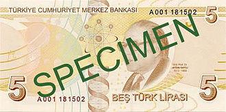 Turkish lira - Image: 5 Türk Lirası reverse