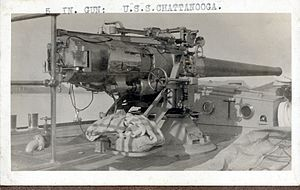 "5""/50 caliber gun - Image: 5 inch 50 caliber gun USS CHATTANOOGA C 16"